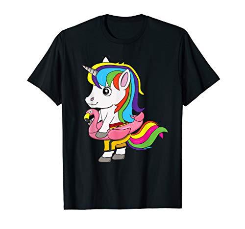 Einhorn mit Flamingo Schwimmreifen Shirt - Kinder Sommer T-Shirt