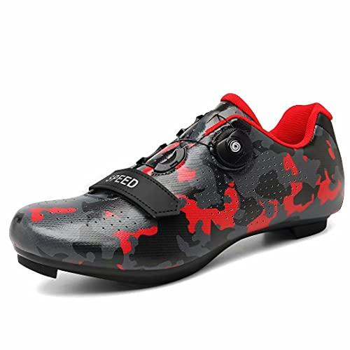 Great Flyor Zapatillas Peloton para hombre y mujer, zapatillas de ciclismo SPD para actividades al aire libre y en interiores, compatibles con tacos Delta Look, color Rojo, talla 41 EU