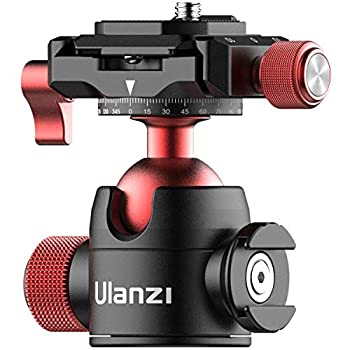 Tripod Head Quick Release Plate ULANZI U-70 Professional Metal 360° Panoramic Ball Head with Quick Release Plate & Cold Shoe 44lbs/20kg Load for Tripod,Monopod,Slider,DSLR,Camera,Camcorder
