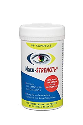 Macu-STRENGTH 90 Capsules Eye Supplement for Macular Health with Meso-Zeaxanthin, Lutein and Zeaxanthin