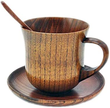 TXIN Wooden Mugs Vintage Teacup Handmade Wood Mug Coffee Espresso Tea Cups with Saucer and Spoon product image