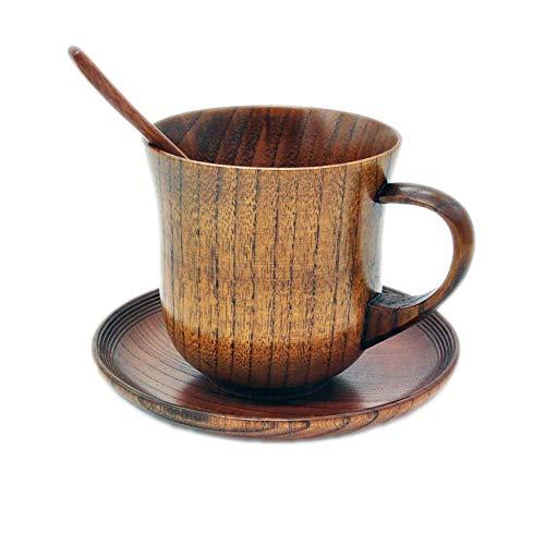 TXIN Wooden Mugs Vintage Teacup Handmade Wood Mug Coffee Espresso Tea Cups with Saucer and Spoon Set
