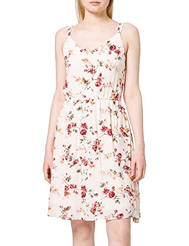 ONLY Damen ONLKARMEN S/L Short Dress AOP Petit WVN Kleid, Creme Brûlée/AOP:Creme BRÙLÈE Rose Flower, 38
