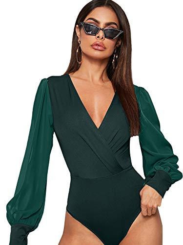 DIDK Body elegante para mujer, cuello en V, manga larga, de malla, con mangas de farolillo, monocolor, parte superior de manga larga verde oscuro M