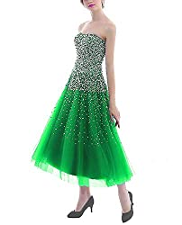 Green Short Dress with Rhinestones
