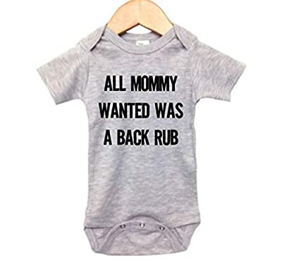 Funny Baby Onesie/All Mommy Wanted was A Back Rub/Unisex Newborn Outfit (6-12M, Grey SS(Black Text))