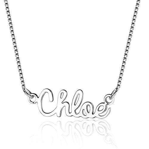 Collar con nombre personalizado plata 925 mujer collar nombre collar regalo personalizado mujer (Plata)
