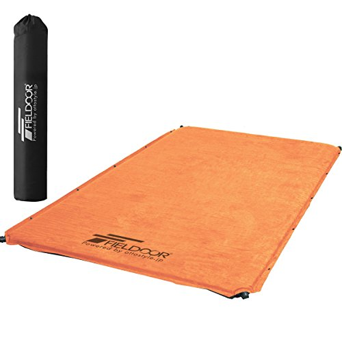 FIELDOOR 車中泊マット 5cm厚 Lサイズ オレンジ 自動膨張マットレス 連結可能 高密度ウレタンフォーム 大型...