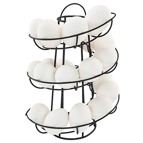 99native Starker Stahl aus,Modern Platzsparend gestaltet Eierspender spiralförmige Design,durchsichtig Eier-Ständer, Eier-Behälter, Küchenaufbewahrung (schwarz)