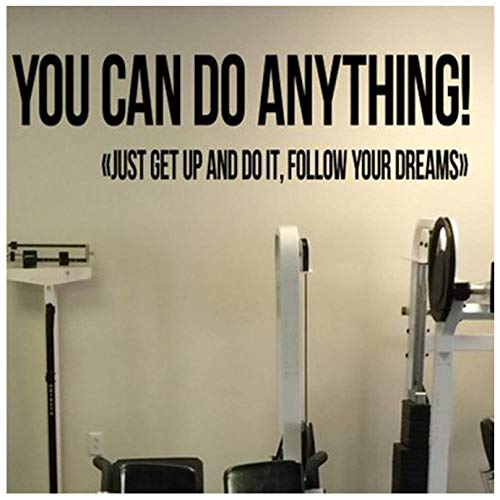 Puedes hacer cualquier cosa Gimnasio Cita motivacional Calcomanía de vinilo Fitness Etiqueta...
