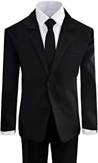 Black N Bianco Boys' Formal Black Suit with Shirt and Vest