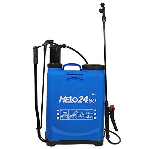 Helo 'M2' Rückenspritze Drucksprüher mit 16 Liter Volumen 2-4 Bar, tragbarer Pumpsprüher Druchsprühgerät mit Schlauch, Lanze, 4 Verschiedene Düsen, Auslösesperre und Druckentlastungsventil