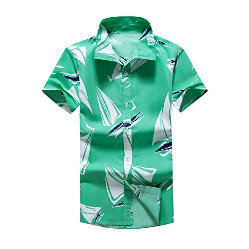 Heren Casual Hawaii Shirt Korte Mouw Top Lapel Pullover Slim Fit T-Shirt Vakantie Stijl Ademende Sweatshirt Vrije tijd Basic Tee Katoen Lichtgewicht Blouse Gym Fitness Tops