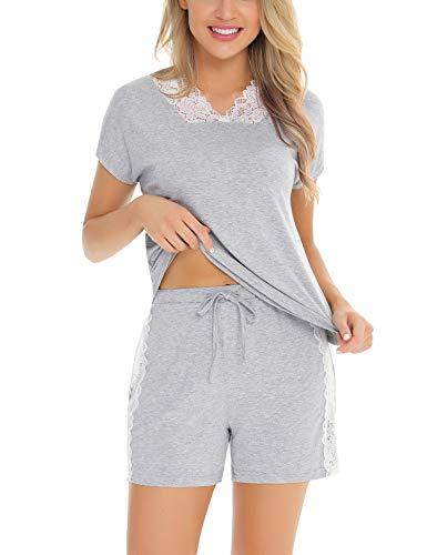 Irevial Pijamas para Mujer Verano Corto, Pijamas de 95% Algodon de Encaje,Sexy Manga Corta Camiseta y Pantalones Cortos Ropa de Dormir 2 Pieces