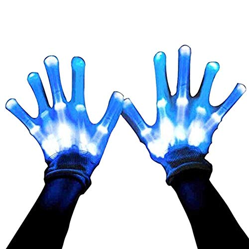 HITOP Led Gloves, Light Up Gloves Toy Skeleton Lighted Gloves, Christmas Party Gifts for Men Stocking Stuffers for Teens
