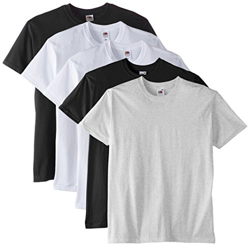Fruit of the Loom Premium tee 5 Pack Camiseta, Multicoloured (White/White/Black/Black/Ash), X-Large para Hombre