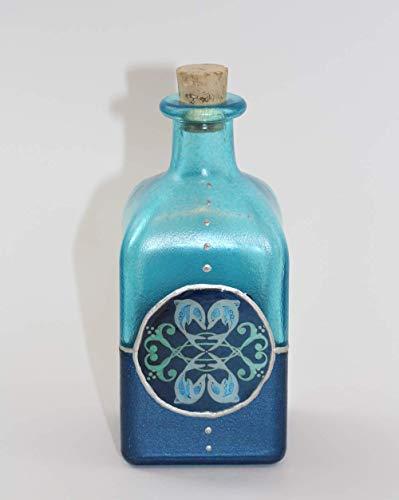 DOLPHINS & DOVES Flacon Flasche DOLPHIN LOVE Glasflasche Delphine Quadratisch Glas Dekoration Delfine Deko Maritim Dunkelblau Blau Türkis