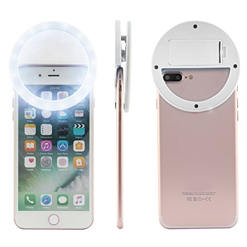 Dealpeak Battery Operated Selfie Ring Light Supplemental Photography Camera Light with 36LEDs for iPhone Android Smartphones & iPads Tablets (white)