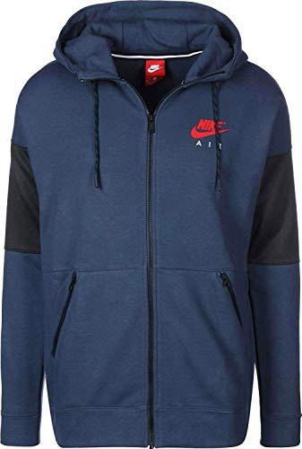Nike Herren Kapuzensweatjacke AIR Sweatjacke mit Kapuze Hooded Sweat Jacket (Blau, L)