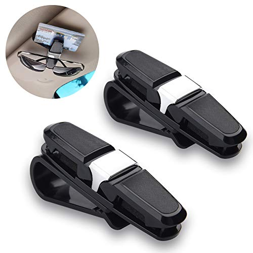 JUSTTOP Glasses Clip Holder for Car Sun Visor, 2 Pack Double-Ends Car Sunglasses Eyeglass with Ticket Card Clip - Silver&Black