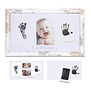 Baby Ink Handprint Footprint Kit Frame – Handprint Picture Frame Kit for Newborns (Safe Clean-Touch Ink) – Babyprints Keepsake for Baby, Nursery Decor, Baby Shower Gifts, Rustic White