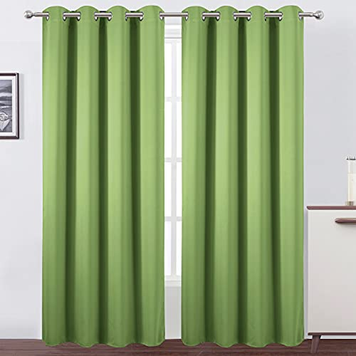 LEMOMO Green Blackout Curtains for Bedroom Room Darkening Curtains/Draperies Thermal Insulated Living Room Curtains Green Curtains Set of 2 Panels (52 x 84 Inch, Light Green)