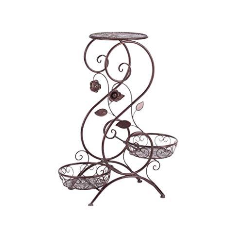 TongN Support de pot de plante en couche de fer européen en forme de S pour le salon chambre balcon intérieur brun 25.6 * 12.6 * 9.4in