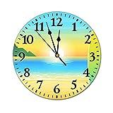 GKAOSPLSR Reloj de pared redondo silencioso de 11.8 pulgadas, funciona con pilas, para decoración de hogar, oficina, escuela, cocina, dormitorio, sala de estar, tabla de surf en la playa
