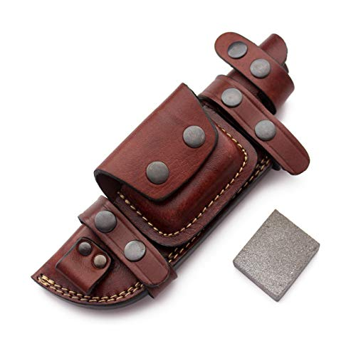 GCS Custom Handcrafted Fixed Blade Leather Right Hand Scout Horizontal Knife Sheath & Sharpening Stone Set GCS181