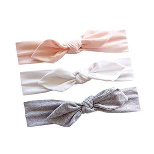 JMITHA 3 Stück Baby Stirnbänder Baby Mädchen Kids Turban Haarband Stirnband Kopfband Baby schmuck Babyschmuck Babygeschenke & Taufe (mit Geschenktüte, 10)