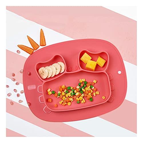 La Placa de la Cena de los niños del latito de Silicona se Puede Usar para Las ventosas para niños para lavavajillas para Horno de microondas para el hogar Platos para la Cena Infantil (Color : E)