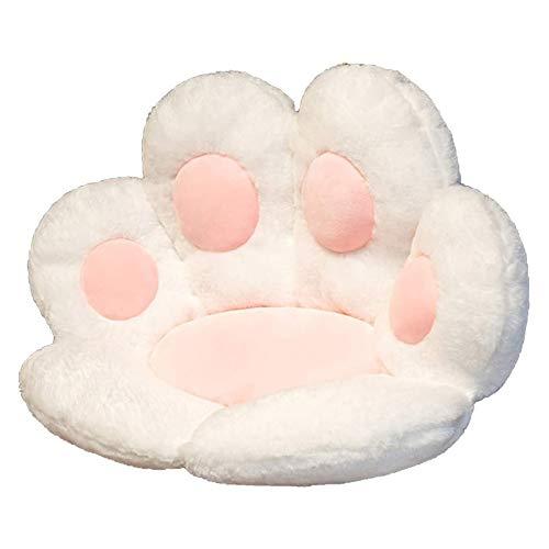 Cojín de asiento en forma de pata de gato, cojín reversible de felpa suave, cojín de alivio del dolor perezoso cojín de apoyo a la cintura lumbar, caderas y columna vertebral (blanco)