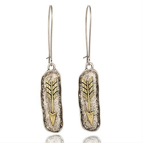 Épingles d'oreille jaune ethnique avec crochet français flèche courte mini cylindre pendentif boucles d'oreilles pour les femmes