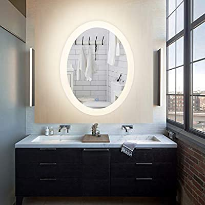 CO-Z Dimmable LED Bathroom Mirror, Plug-in Modern Lighted Wall Mounted LED Lighting Mirror with Lights&Dimmer, Contemporary Fog-Free Vanity Cosmetic Backlit Touch Bathroom Mirror Over Sink