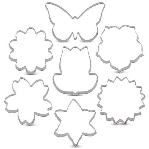 KENIAO Frühling Blumen Ausstechformen Set - 7 Stück - Lilie, Gänseblümchen, Sonnenblume, Kirschblüten, Tulpe, Kapok und Schmetterling Fondant Brot Ausstecher Keksausstecher - Edelstahl