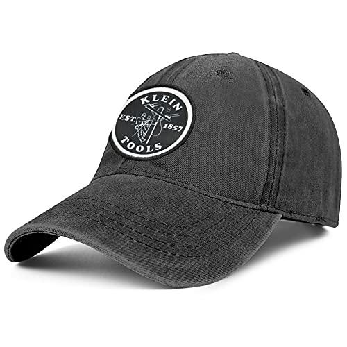 Zpnew Unisex Adjustable Klein-Tools- Logo Embroidery Hat Shooting Cap Fashionable Washed Baseball Cap Denim Hat, Black, One Size