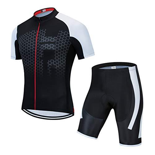 Weimostar Radtrikot setzt Männer Bike Top Mountainbike Trikot Shorts Anzug Fahrrad Shirt Road Fahrradbe Rennen MTB Kleidung Sommer atmungsaktiv Sommer Fahrrad schwarz S.