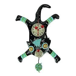 Allen Designs Craft Attack Cat Whimsical Kitten Yarn Ball Pendulum Wall Clock