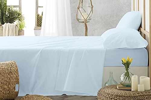 Burrito Blanco Sábanas de Hostelería | Sábana 120x190/200 | Juego de Sábanas | Ropa de Cama Algodón | Fácil Planchado | Color Azul | Disponible en Más Medidas