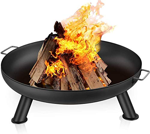Amagabeli Large Fire Pit 23.6 Inch Large Capacity Fire Bowl Portable Outdoor Heavy Duty Iron Fire Bowl for Patio Camping BBQ Brazier for Garden Charcoal Wood Burner Round Log Burning Bowl