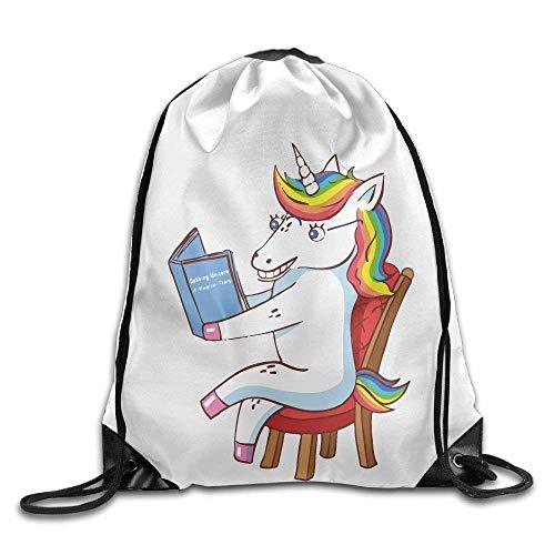 FLYBAI-CASE Dabbing Unicorn Read Book Chair Print Drawstring Backpack