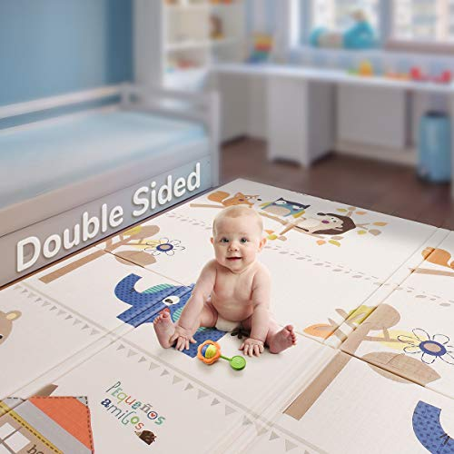 Foldable Play Mat  【Easy to Clean, Fold Up】Non- BPA Non-Toxic Foam Baby Playmat 79inchx 71inchx 0.6inch Thick Extra Large Reversible Crawling Mat Portable Play Mats for Toddlers (Tree Tower)