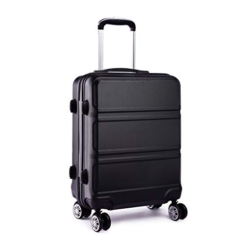 Kono Fashion Large 28 Inch Suitcase Hard Shell ABS 4 Spinner Wheel Luggage Travel Trolley Case (28' Black)