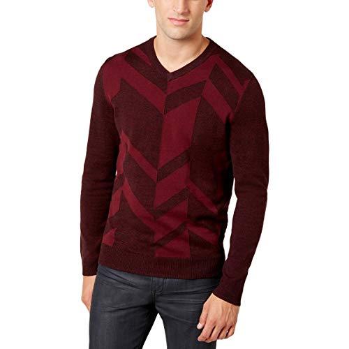 Alfani Mens V-Neck Long Sleeves Sweater Red XL