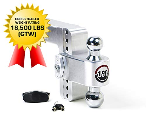 Weigh Safe 180 Hitch CTB6-2.5 6' Drop Hitch, 2.5' Receiver 18,500 LBS GTW - Adjustable Aluminum Trailer Hitch Ball Mount & Chrome Plated Combo Ball, Dual Pin Keyed Lock