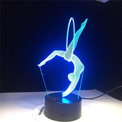 SCNYCUL 3D LED lámpara mesa luz nocturna Yoga bailando7 colors niño regalo de fiesta de Navidad decoración hogar