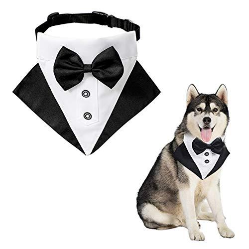 WANDIC Hund Smoking Bandana Halsband, 1 Stück Verstellbar Formelle Hund Hochzeit Bandana Tux Hund Bowtie Bandana Halsband Halstuch mit D-Ring für Große und übergroße Hunde