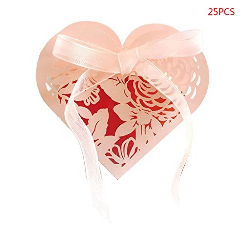 JOYKK 25 Teile/Satz Rose Herzform Bevorzugt Geschenke Süßigkeitskästen Mit Band Baby Shower Hochzeit Party Supplies