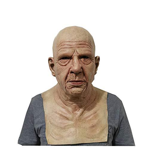 Dreariv Alte Mann Maske Realistische Menschliche Faltenkopfmaske Halloween Scary Maske Cosplay Requisiten