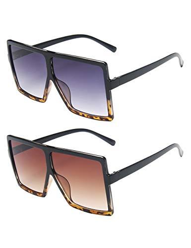 besbomig 2 pares de gafas de sol rectangulares de gran tamaño de la vendimia Gafas cuadradas unisex de la vendimia Gafas planas para mujeres Hombres